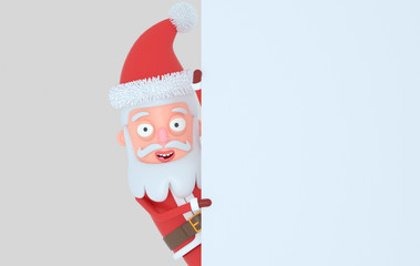 Santa Claus holding a white banner. Isolated.