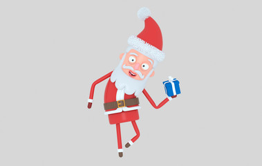 Santa Claus holding a gift. Isolated.