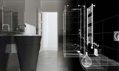 Stanza da bagno, interior design, illustrazione 3d