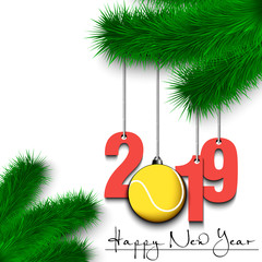 Tennis ball and 2019 on a Christmas tree branch
