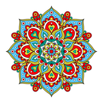 Vector hand drawn doodle mandala. Ethnic mandala with colorful tribal ornament. Isolated. Bright colors.