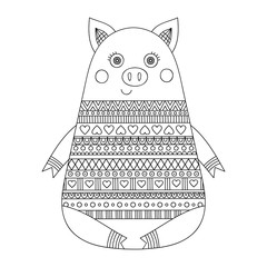 Hand dawn doodle pig with ornament. Cartoon piglet in sweater. Anti stress coloring page for children and adults. Isolated vector illustration.
