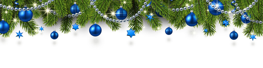 Christmas and New Year banner with fir branches and blue Christmas balls.