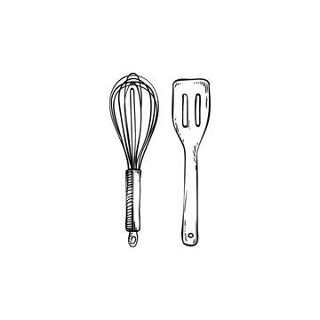 Whisk and Spatula Kitchen Utensils