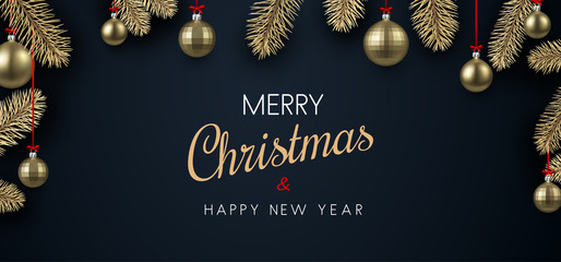 Christmas and New Year poster with golden Christmas balls.