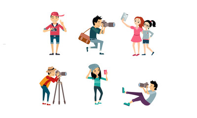 People taking photos set, model posing while photographer photographing, girls doing selfie vector Illustration on a white background