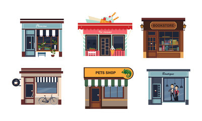 Facades of various shops set, flower, ice cream, bookstore, cafe, pets shop, boutique vector Illustration on a white background