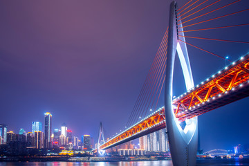 Chongqing city night view and skyline of architectural landscape