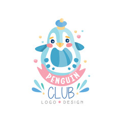 Penguin club logo design, emblem can be used for kids education center, baby shop, kids market, kindergarten and any other children projects vector Illustration