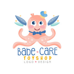 Babe care toyshop logo design, badge with cute octopus can be used for baby store, kids market vector Illustration on a white background