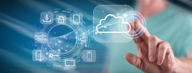 Man touching a cloud computing concept Fototapete