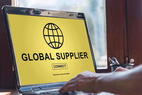 Global supplier concept on a laptop screen