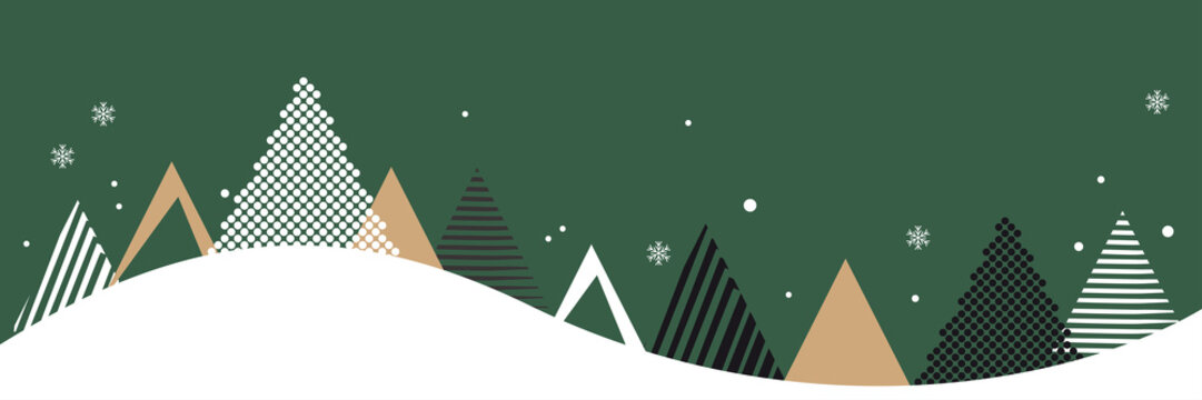Christmas banner. Abstract vector illustration. Winter landscape background