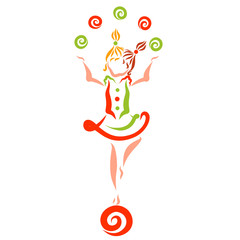girl standing on a ball and juggling balls