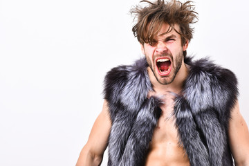 Guy attractive fashion model posing fur coat on naked body. Fashion concept. Fashion and pathos. Richness and luxury lifestyle. Sexy sleepy rich macho tousled hair fur vest on white background