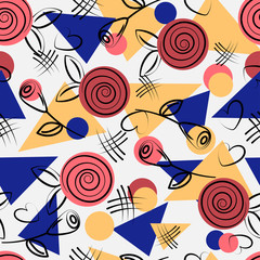 Seamless pattern with geometric pattern of triangles, circles and doodles of flora. Vector