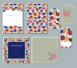 A set of cards and tags with a geometric pattern of triangles, circles and flora tails. Vector