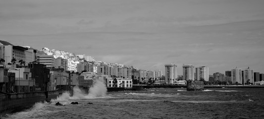 Maritime front of Las Palmas de Gran Canaria, Canary Islands, Black and white