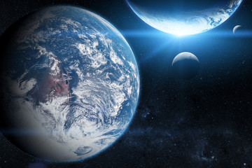 Earth in the outer space with beautiful planet. Blue sunrise. Elements of this image furnished by NASA.