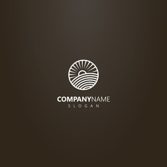 white logo on a black background. vector line art round logo of sun rising over a field