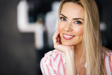 Woman portrait with perfect hair and make-up blonde