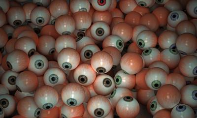 Halloween, secchio con un cumulo di occhi, illustrazione 3d