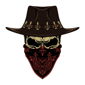 Color vector image of a skull in a cowboy hat and a bandana.