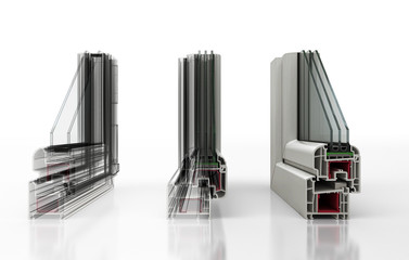 Vista finestre in sezioni e loro componenti, serramenti, illustrazioen 3d