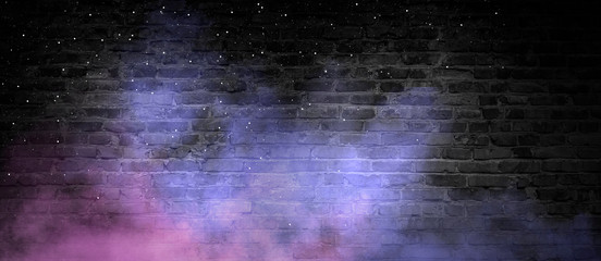 Fotomurales - Empty background of old brick wall, black color, multi-colored smoke, neon light