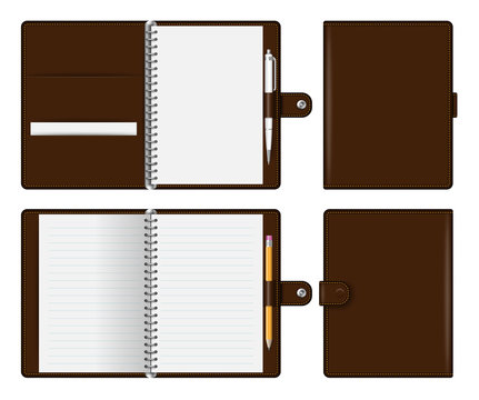Realistic brown notebook mockup for branding and corporate identity. Notepad with pencil and pen isolated vector illustration on white background