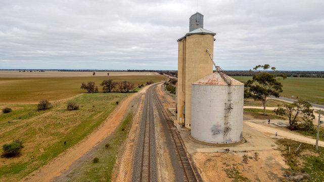 silo and railroad  aerial photo
