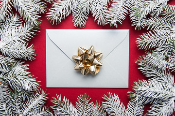 Merry Christmas and Happy Holidays greeting card, frame, banner. New Year. Winter holidays. Envelope cover.