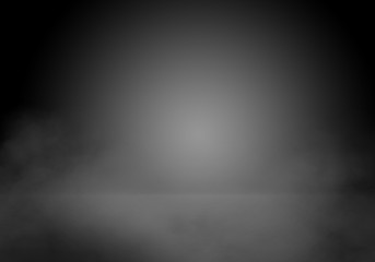 black showcase background with spotlight and fog, black display background with smoke, screen background in black color with smoke
