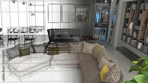 Camera Da Letto Con Divano : Monolocale con camera da letto e libreria divano e televisore