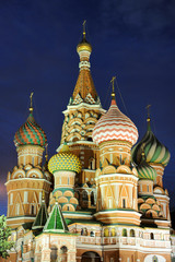 Amazing Domes of St. Basil's Under the Darkening Sky - Moscow by Night
