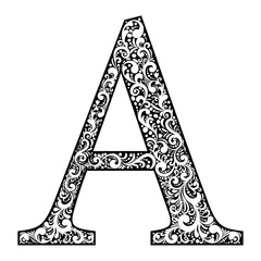 Illustration letter A letter black with white ornament
