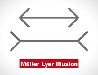 Muller-Lyer optical illusion illustration