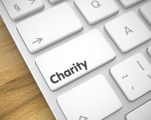 Charity - Message on White Keyboard Button. 3D.