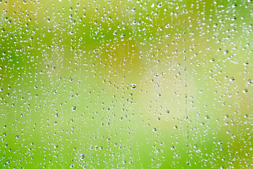 Rain drops on glass window with fresh outdoor background