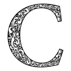 Illustration letter C letter black with white ornament