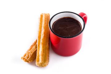 Hot chocolate with churros isolated on white background
