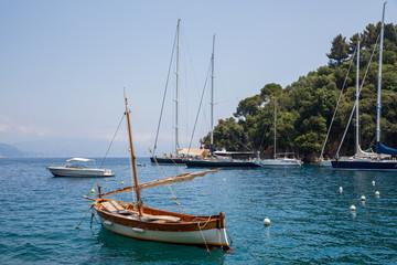 Portofino Italy July 6th 2015 : View of boats in the beautiful harbour at Portofino, Italy