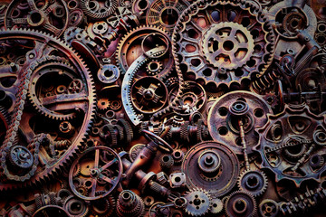 Steampunk background, machine parts, large gears and chains from machines and tractors.