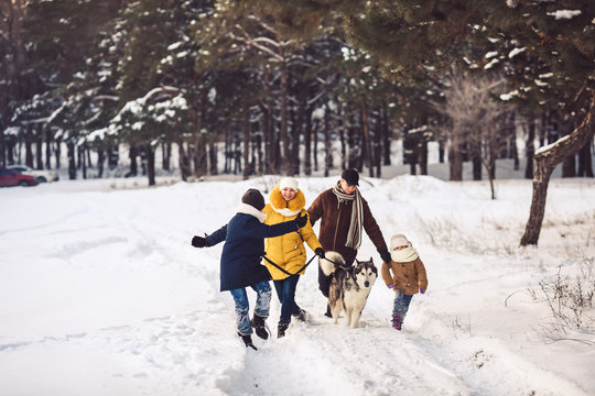 Happy young caucasian family plays with a dog in winter in a pine forest