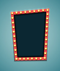 Vintage 3d light retro frame. Vector Illustration
