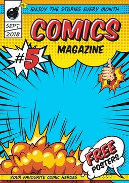Comic magazine cover template
