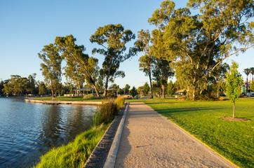 Victoria Park Lake in Shepparton in regional Victoria in Australia.
