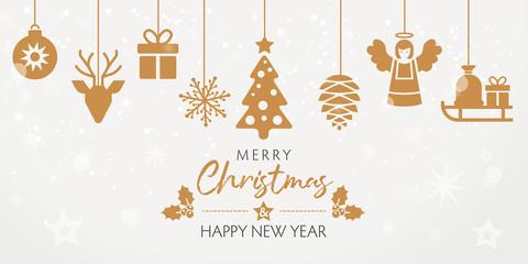 Merry Christmas Weihnachtskarte mit goldenen dekorativen Elementen im din lang Format