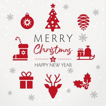 weihnachtliche Grußkarte im quadratischen Format mit roten Icons