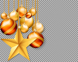 3d christmas gold balls with Star isolated on transparent background.